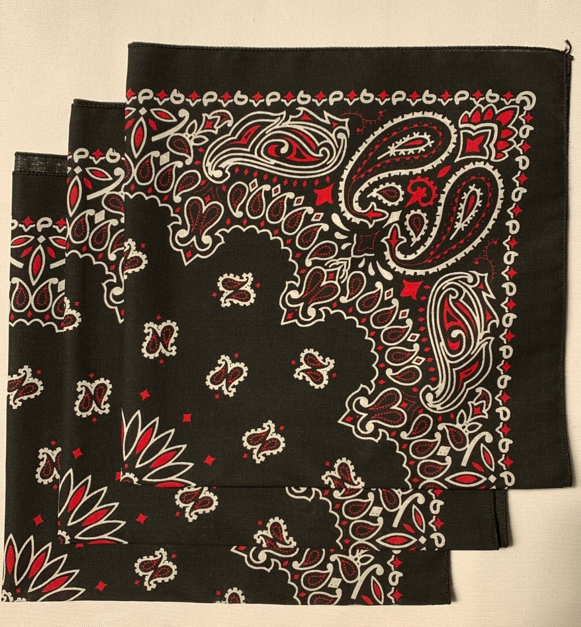 "Black/Red Paisley Bandanas - Made In The USA (3 Pk) 22"" x 22"""