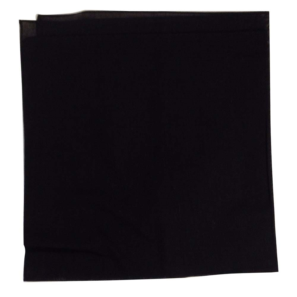 "14"" x 14"" Black Bandana Solid Color 100% Cotton"