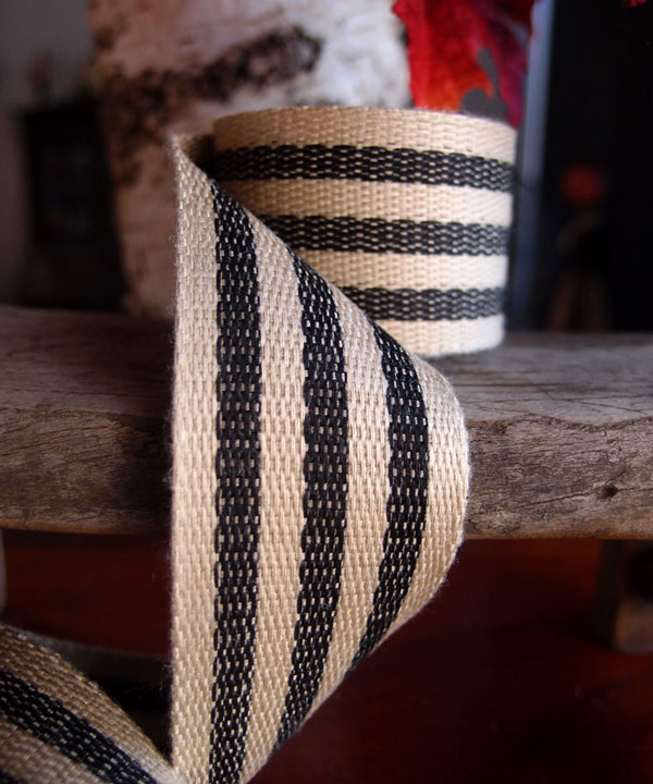 "Black Stripe Faux Burlap Ribbon 1.5"" x 10 Yards"