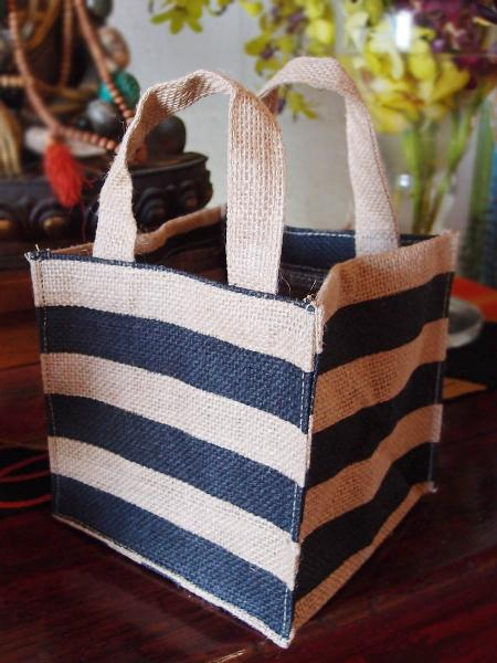 "Jute Plant Tote Bag 6""W x 6""H x 6"" - Black Stripes"