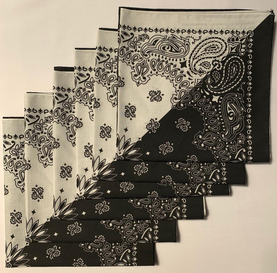 "Black/White Split Paisley Bandanas - USA Made (6 Pk) 22"" x 22"""