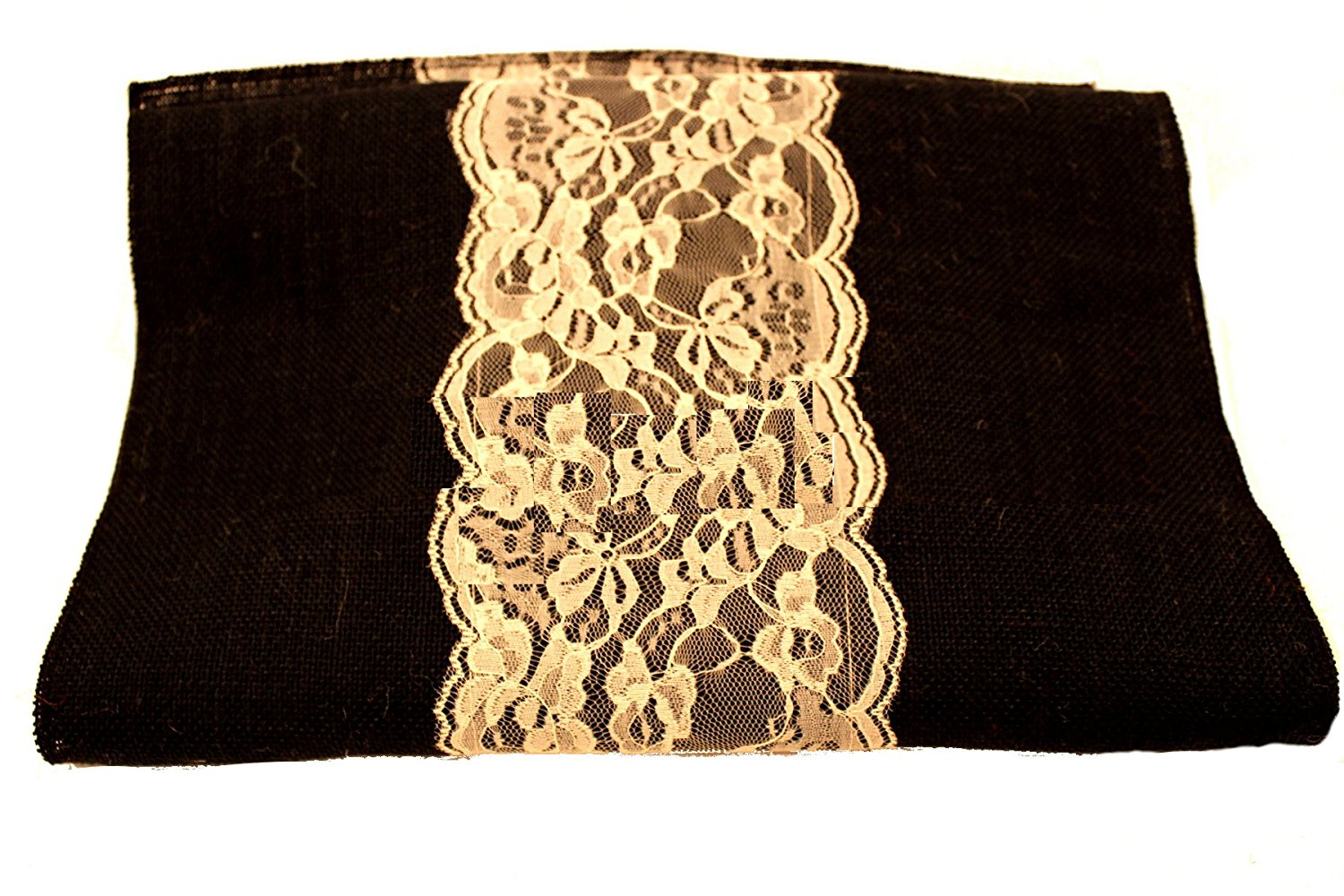 "14"" Black Burlap Runner with 6"" Ivory Lace"