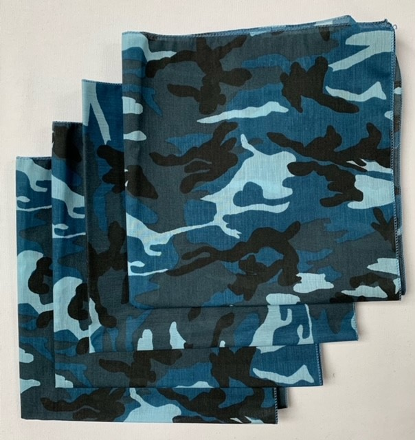 "Made in the USA Blue Camo Bandanas (4 Pk) 22"" x 22"""