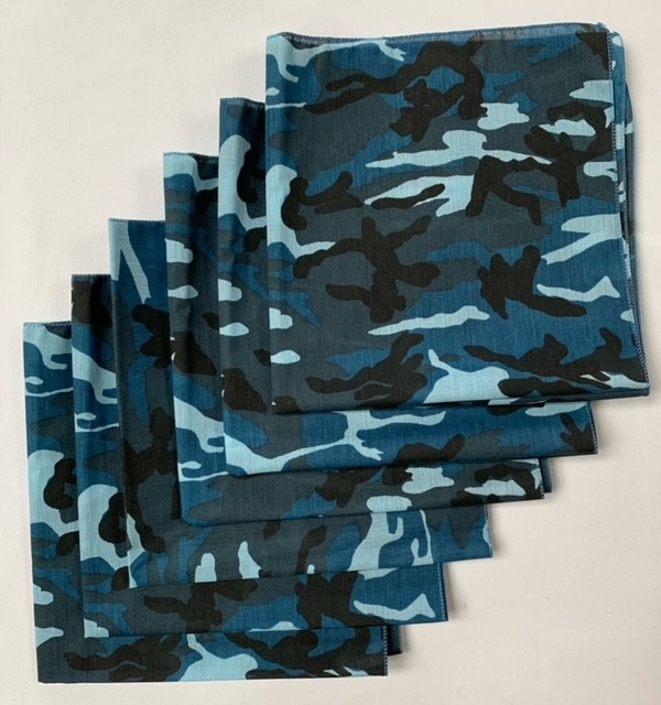 "Made in the USA Blue Camo Bandanas (6 Pk) 22"" x 22"""