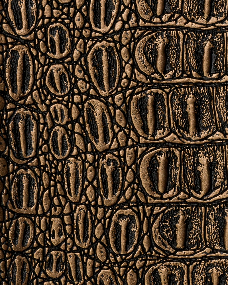"54"" Brass Metallic Gator Faux Leather Fabric - By The Yard"