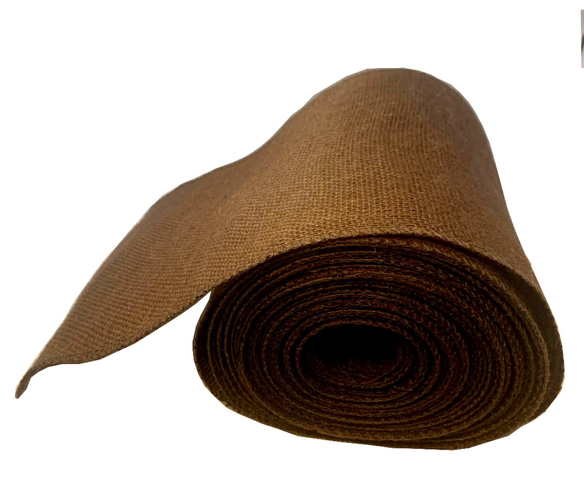 "9"" Brown Burlap Ribbon 10 Yard Roll (Serged) Made in the USA"
