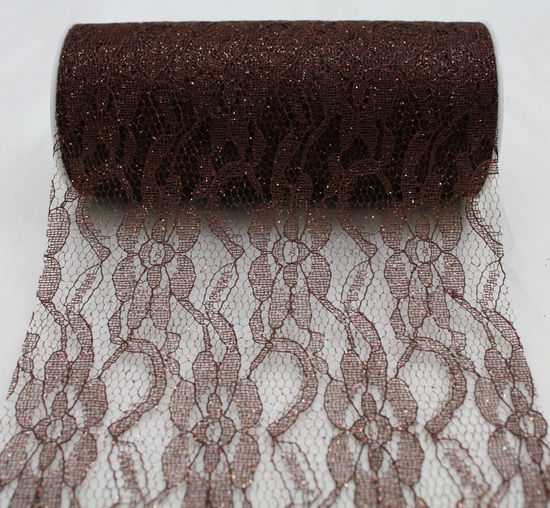 "Chocolate Sparkle Lace Ribbon 6"" x 10 Yards"