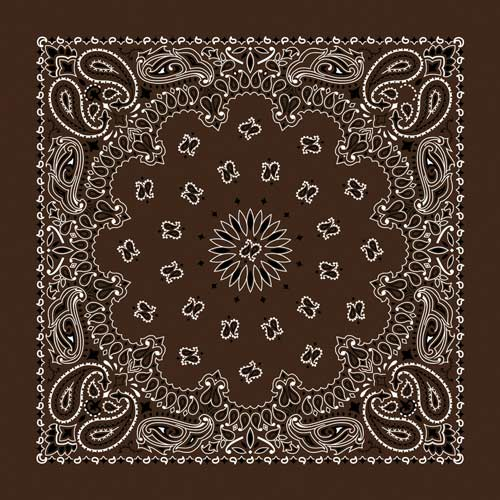 "Brown Paisley Bandanas - USA Made (12 Pk) 22"" x 22"""