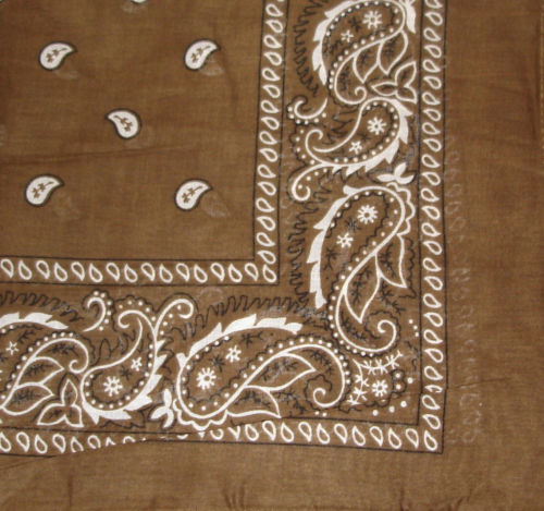 "Brown Paisley Bandana - 22"" x 22"" (100% cotton)"