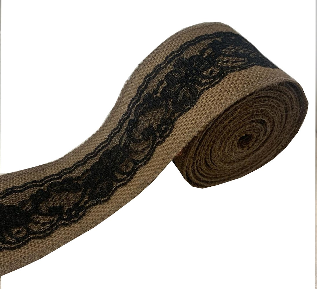 "3"" Brown Burlap Ribbon With Black Lace 5 Yard Roll - Made in USA"