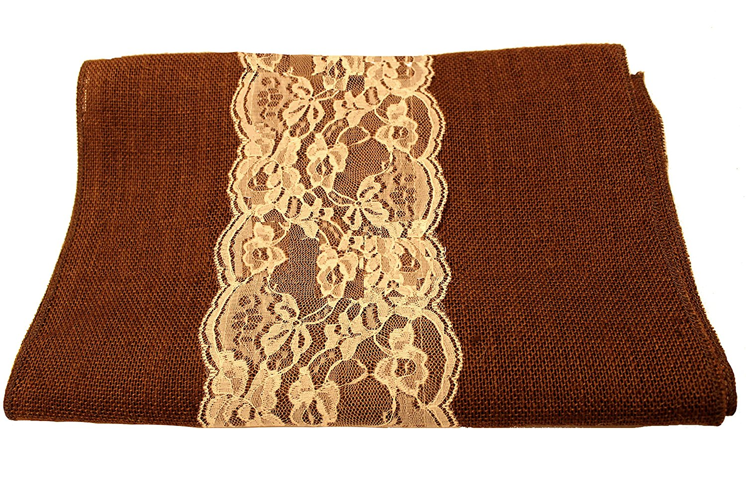"14"" Brown Burlap Runner with 6"" Ivory Lace"