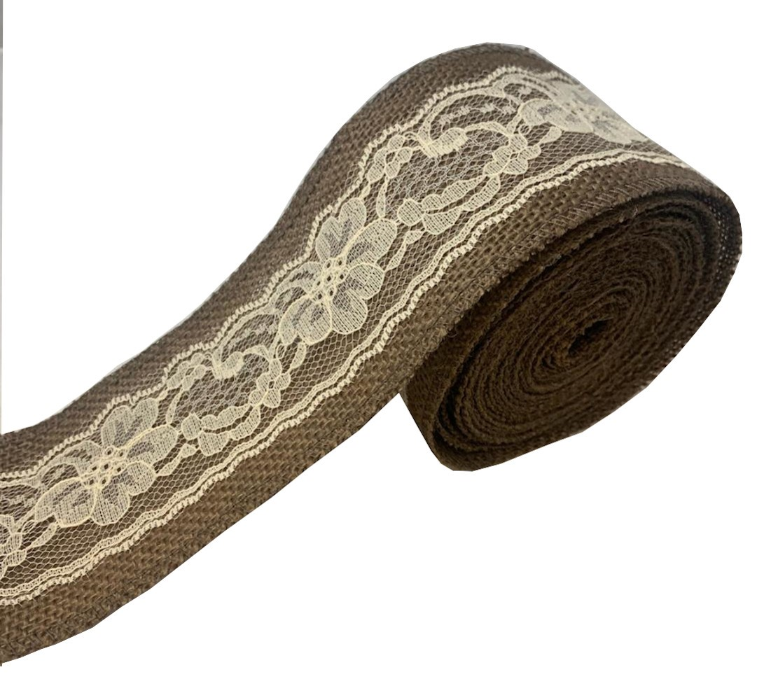 "3"" Brown Burlap Ribbon With Ivory Lace 5 Yard Roll - Made in USA"