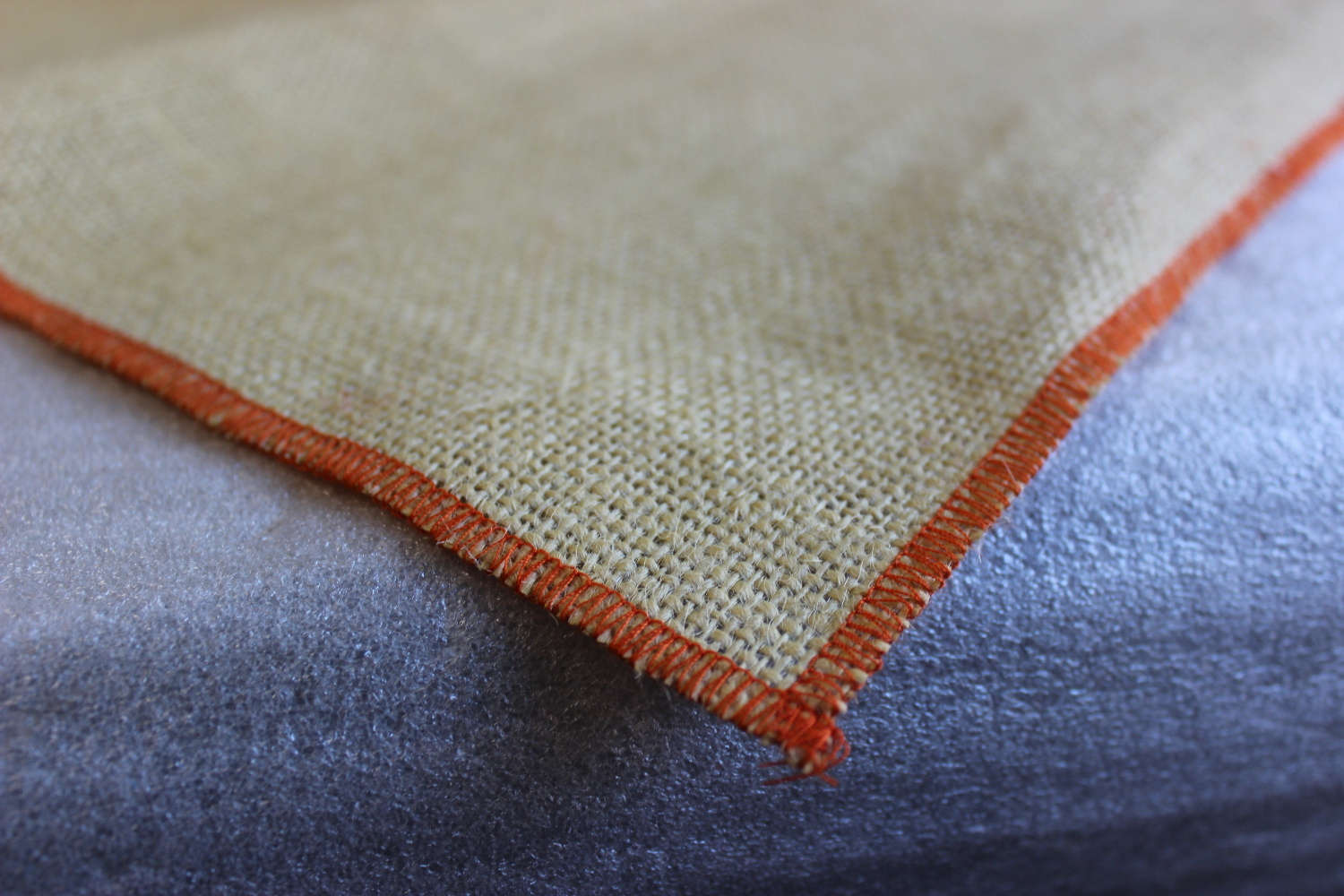 Colored Napkins - Natural with Tangerine Edge