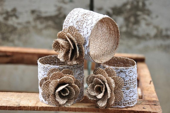 Burlap Napkin Rings with Lace (3 Pk)