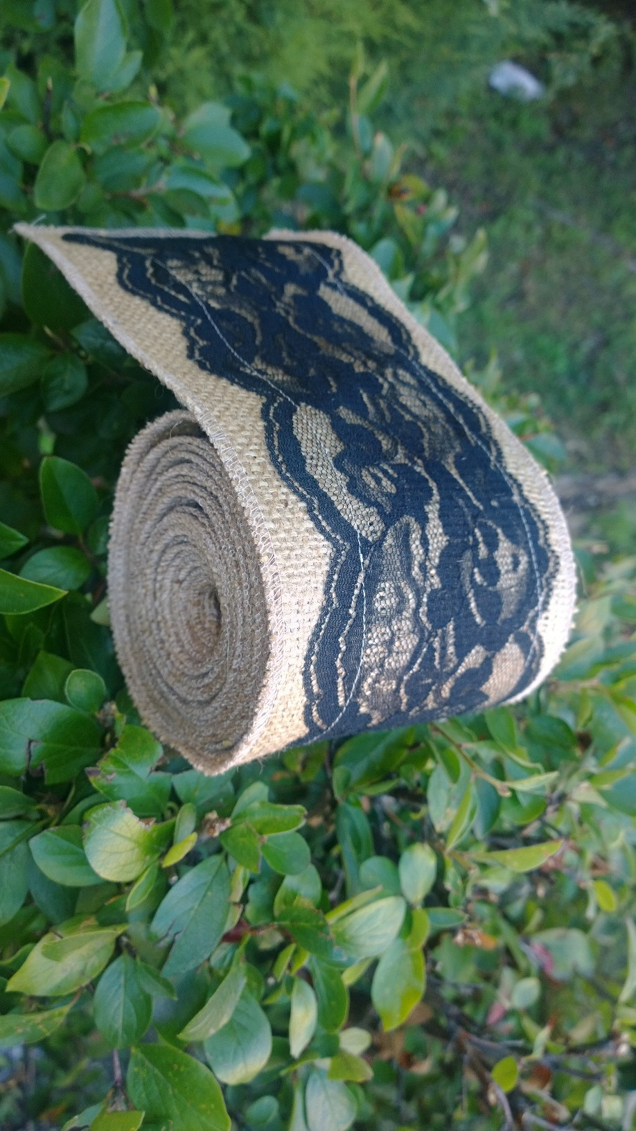 "5"" Burlap Ribbon with 4"" Black Lace - 5 Yards"