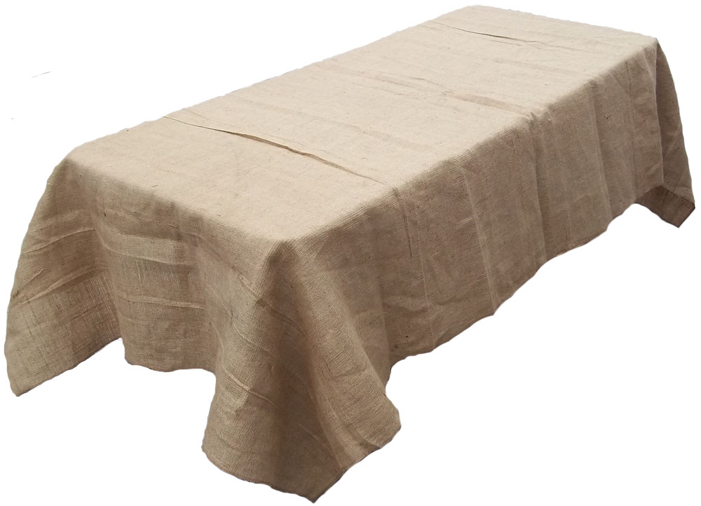 "60"" x 144"" Burlap Tablecloth Made In The USA - Sewn Edges"
