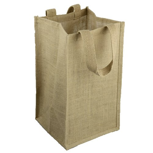 "8"" x 8"" x 14"" Natural Burlap Wine Bag w/Dividers - 4 Bottles"