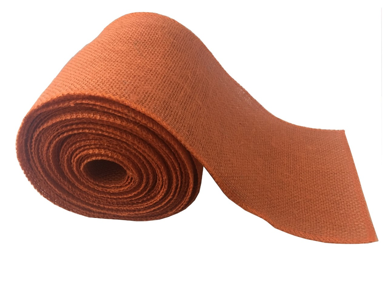 "6"" Burnt Sienna Burlap Ribbon - 10 Yards (Serged)"