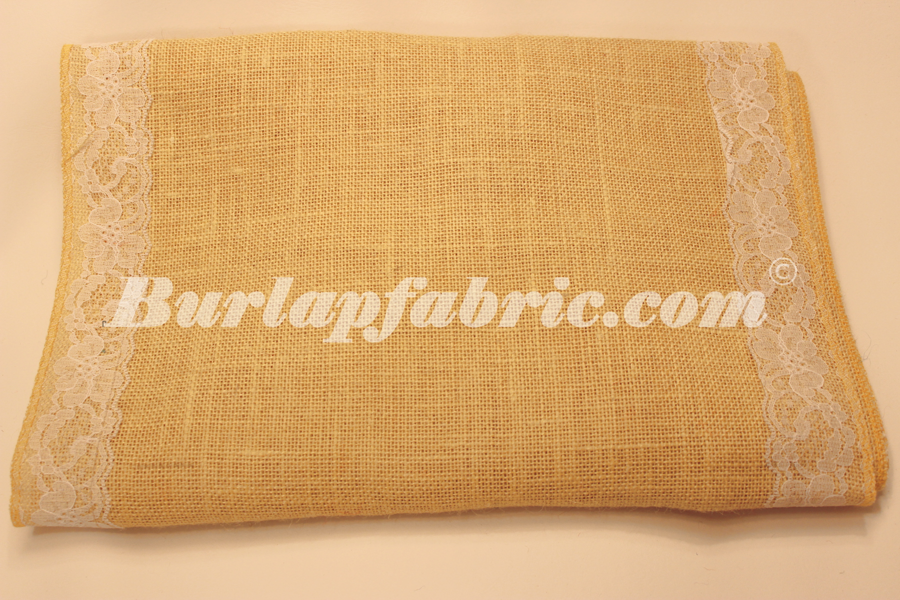 "14"" Butter Burlap Runner with 2"" White Lace Borders"