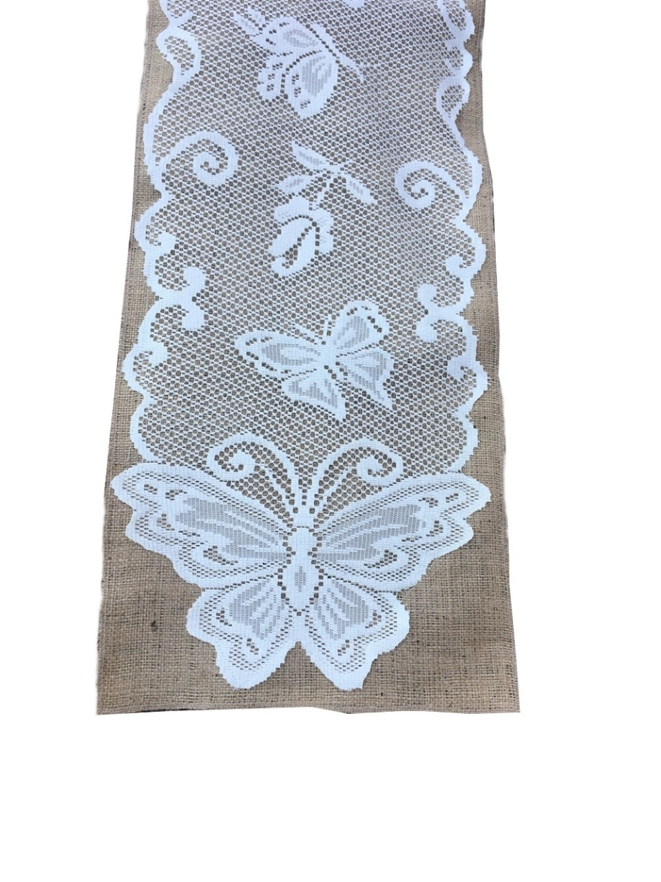 "Burlap Table Runner With Lace - Butterfly Design 14"" x 96"""