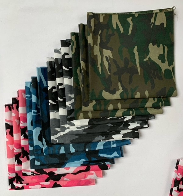 "Made in USA Camo Bandanas 12 Pack 22"" Pink, Blue, Green & Urban"