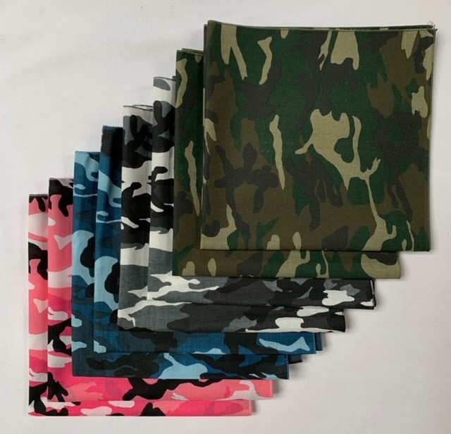"Made in the USA Camo Bandanas 8 Pk 22"" Pink, Blue, Green & Urban"