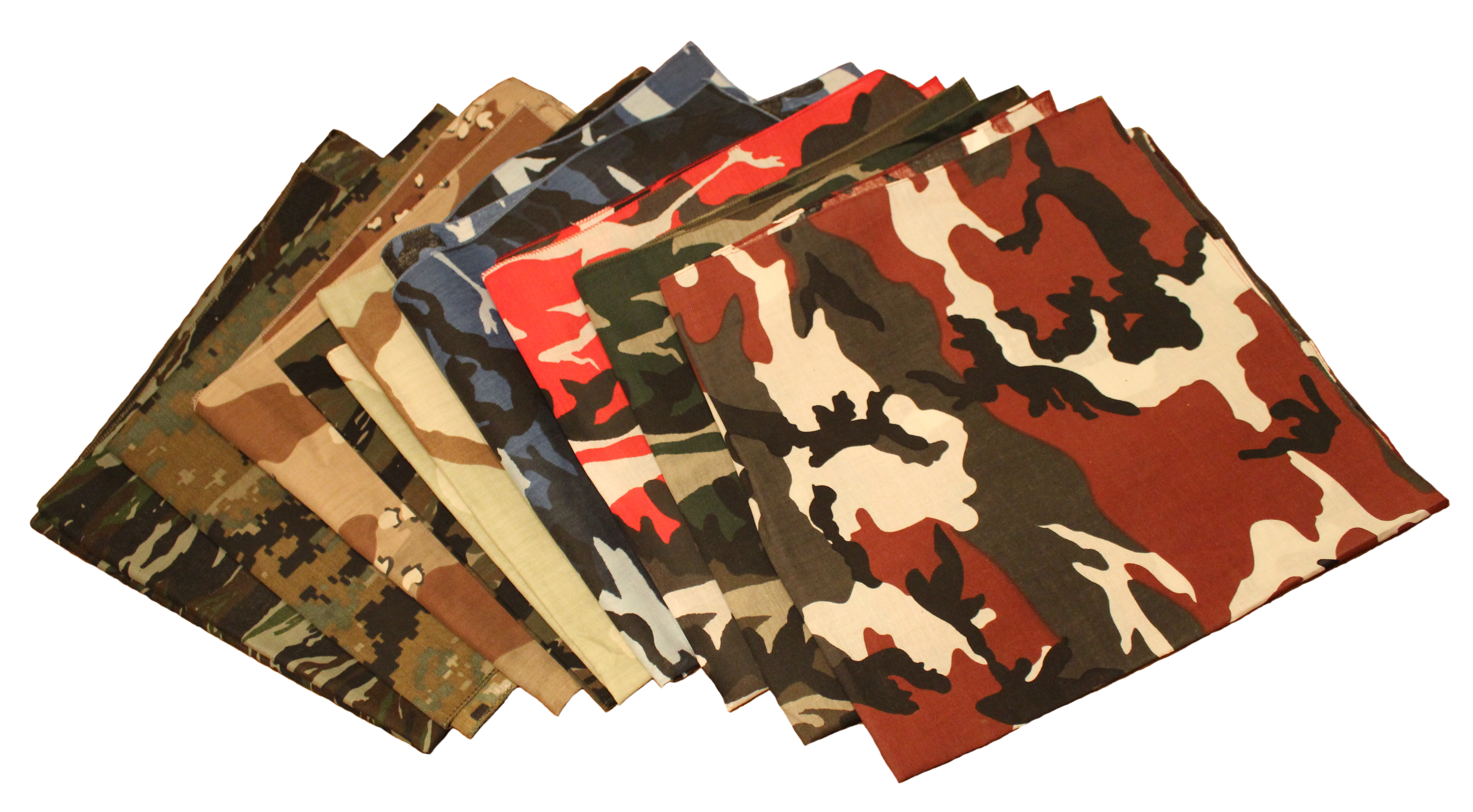 "Camo Bandanas 12 Pack Assortment 22"" X 22"" Made In USA"