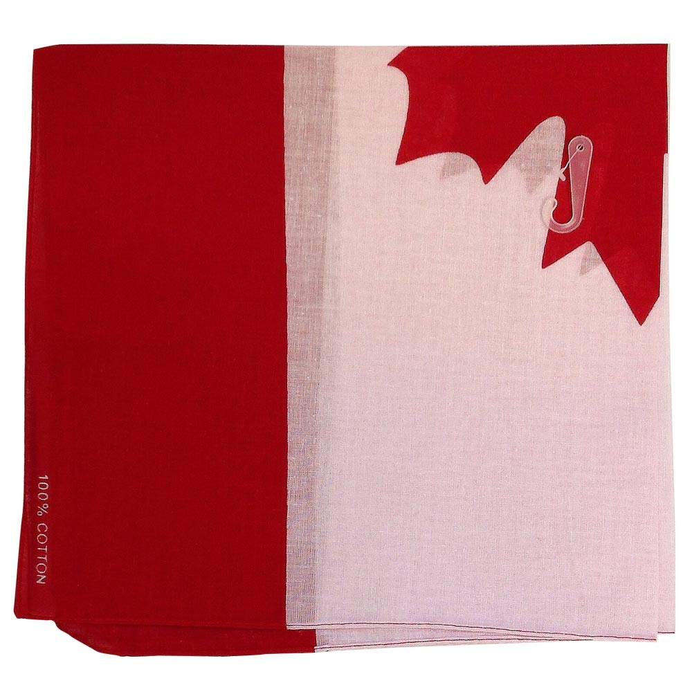 "Canadian Flag Bandana - 22"" X 22"" 100% Cotton"