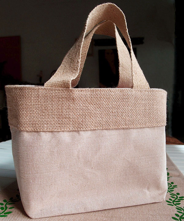 "Jute/Cotton Tote Bag 11 1/2""W x 7 1/2""H x 4 1/2""D"