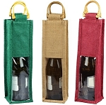 Clear Window Jute Wine Bag