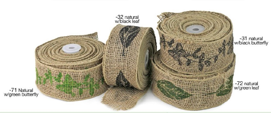 Wired Burlap Ribbon With Print