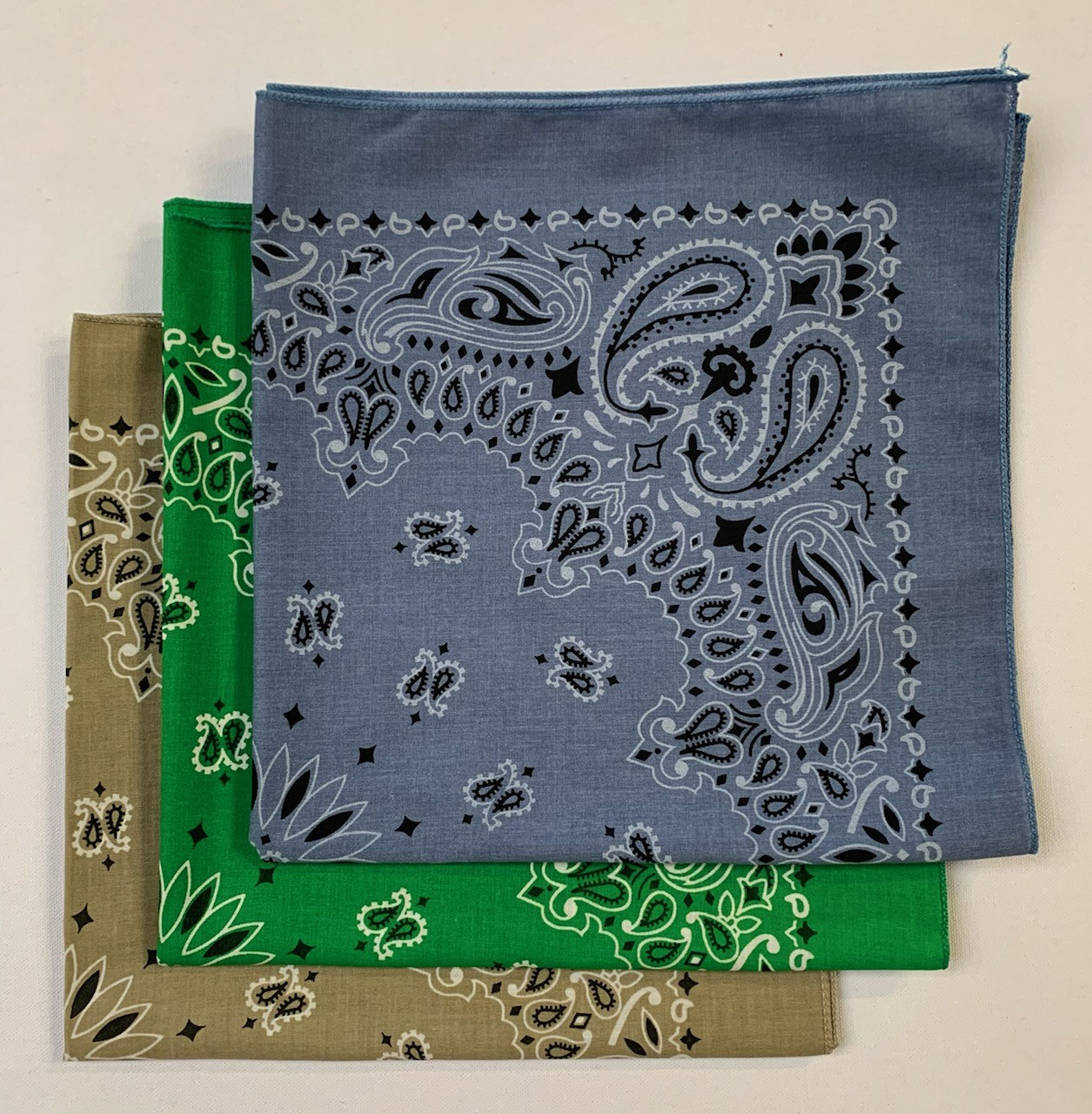 Chambray, Kelly, Beige USA Made Paisley Bandanas (3 Pk) 22""