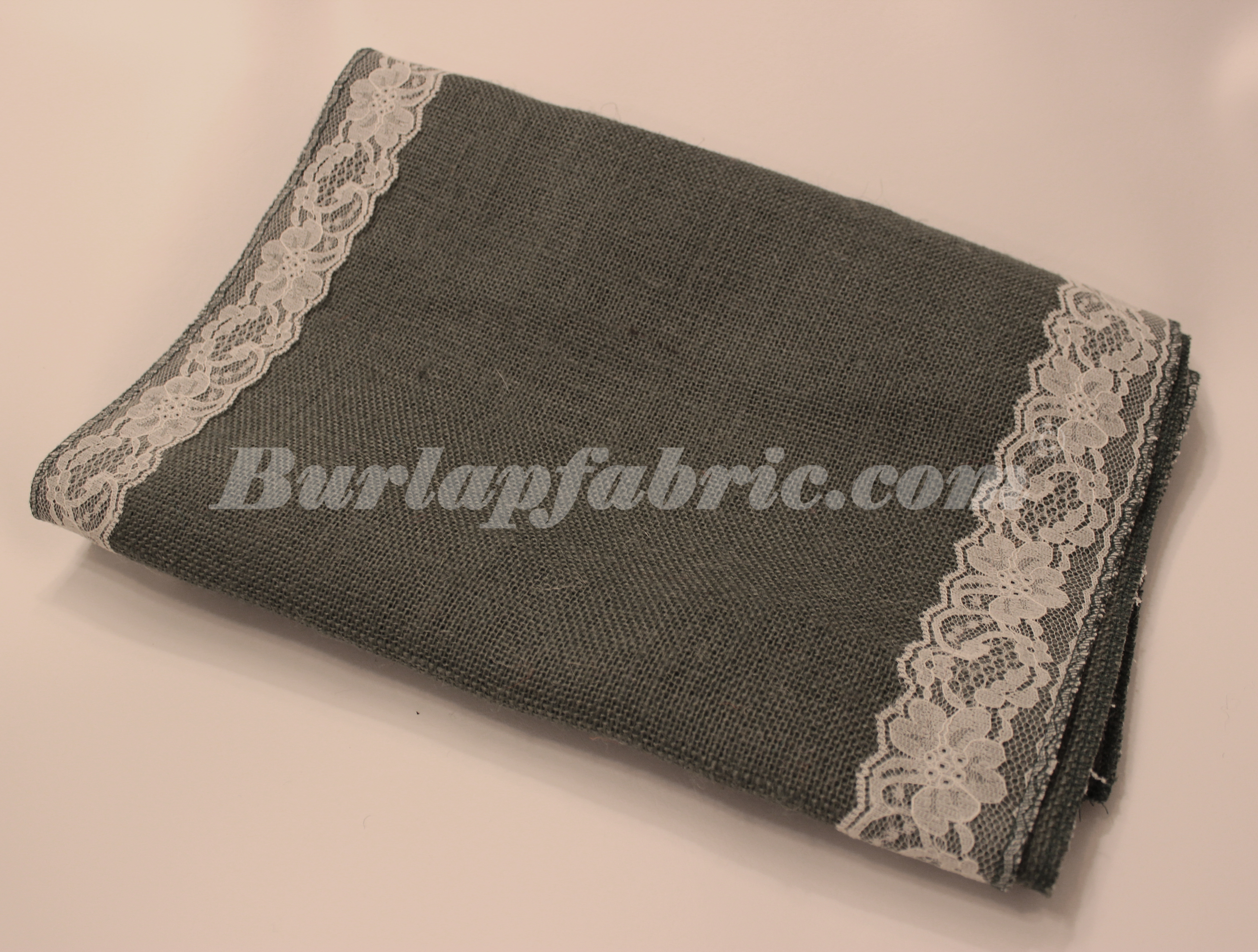 "14"" Charcoal Grey Burlap Table Runner with 2"" Ivory Lace Borders"