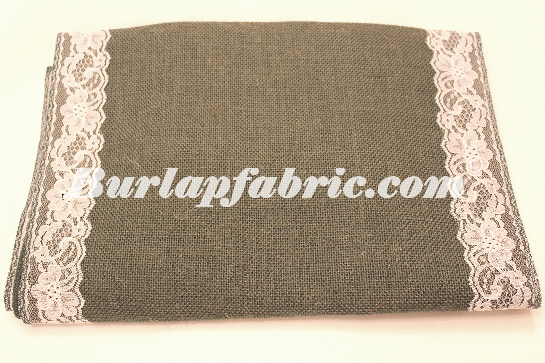 "14"" Charcoal Grey Burlap Runner with 2"" White Lace Borders"