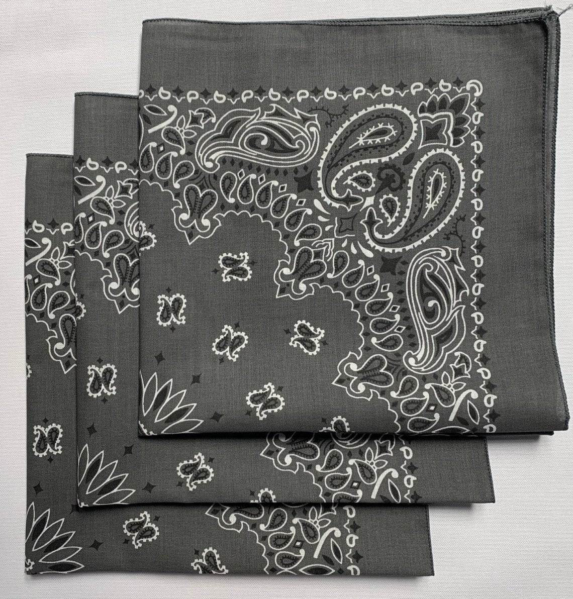 "Charcoal Paisley Bandanas - Made In The USA (3 Pk) 22"" x 22"""