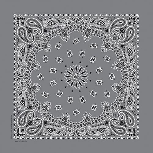 "Charcoal Paisley Bandanas - USA Made (12 Pk) 22"" x 22"""
