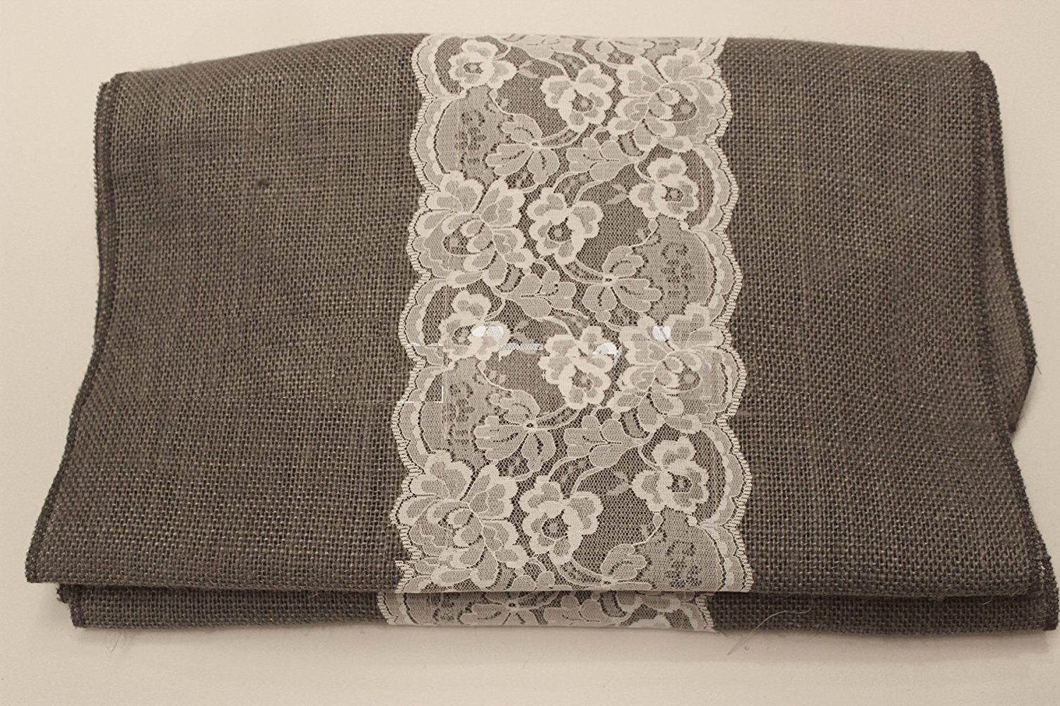 "14"" Charcoal Grey Burlap Runner with 6"" White Lace"