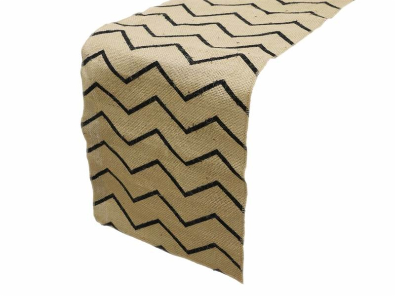 "Chevron Burlap Table Runner - 14"" x 108"""