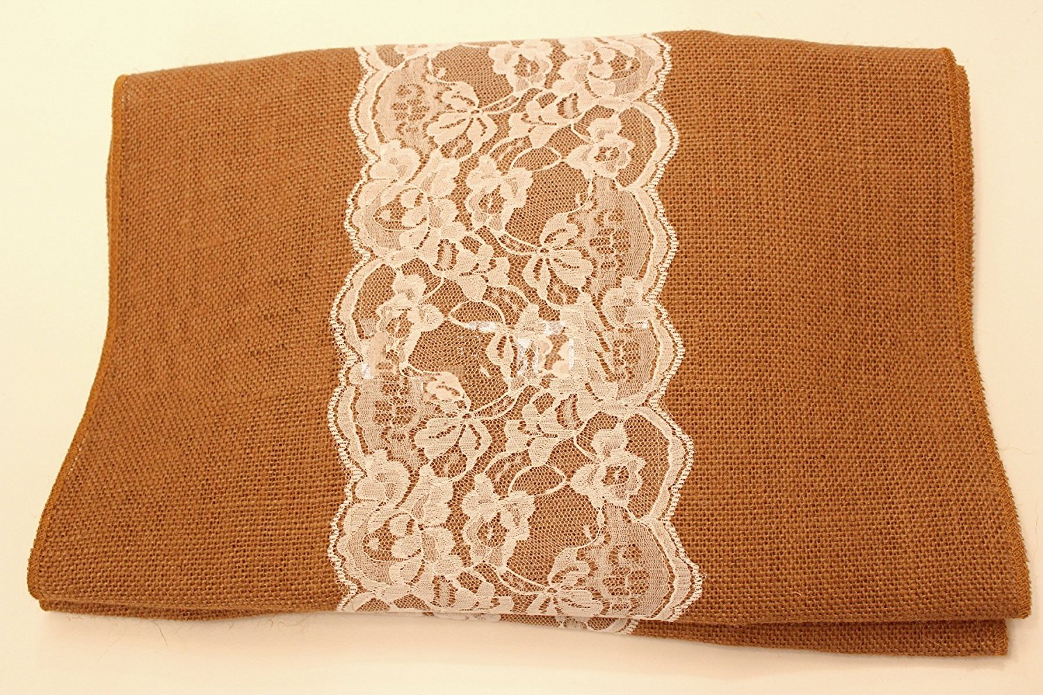 "14"" Copper Burlap Runner with 6"" White Lace"