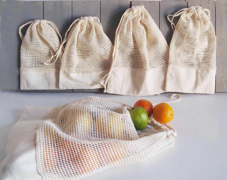 Mesh Bags With Fabric Trim