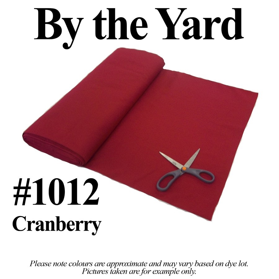 "Cranberry Broadcloth Fabric 45"" Wide - By The Yard"
