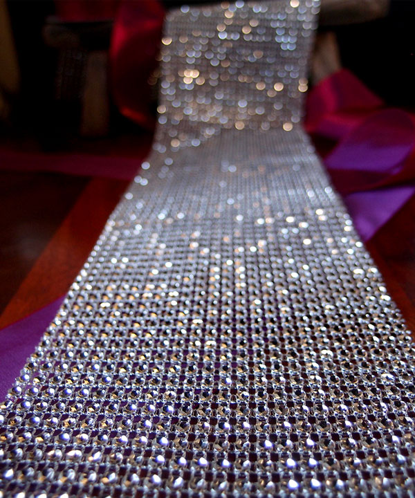 "Silver Diamond Mesh Ribbon - 4.5"" x 30 Feet (Closeout)"