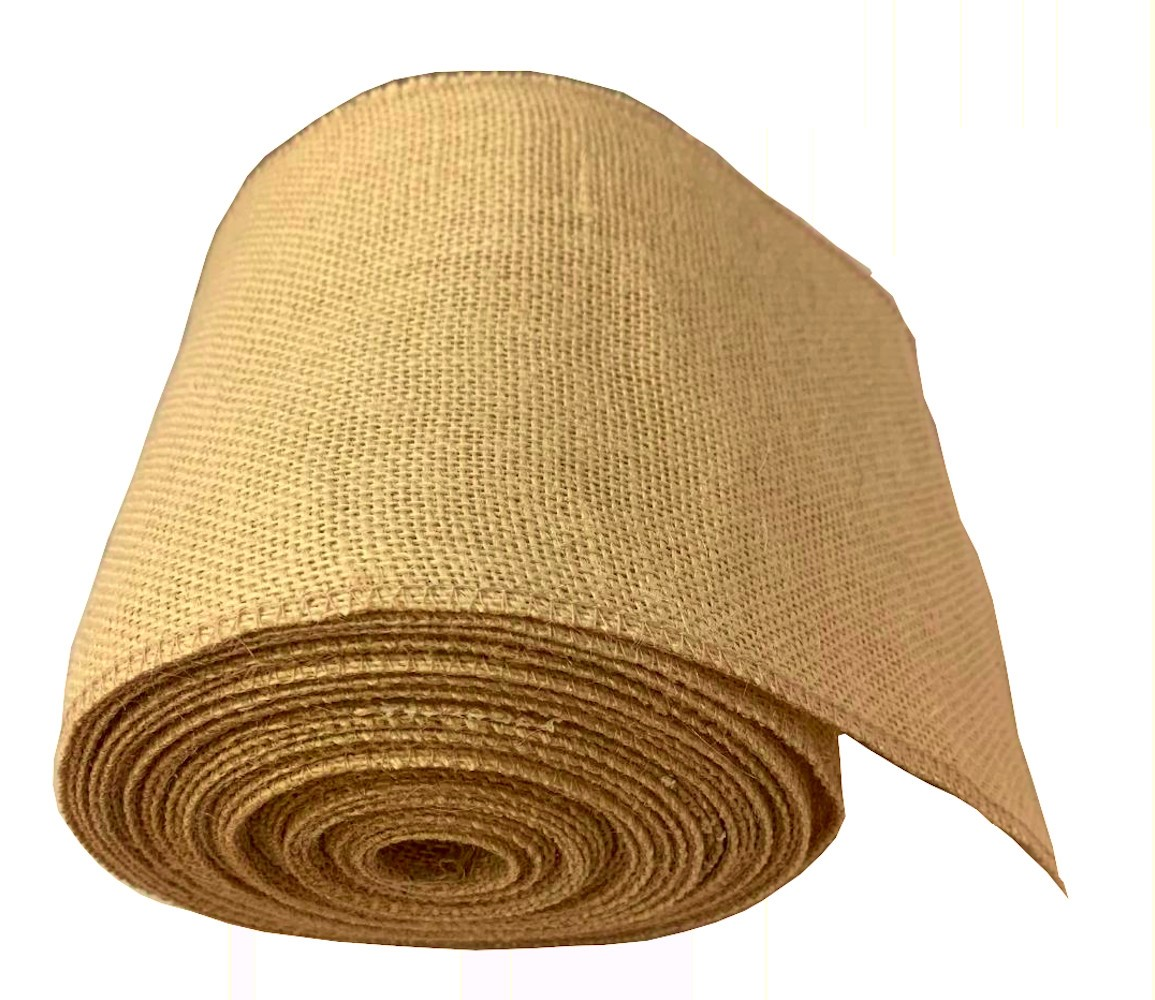 "6"" Florida Sand Burlap Ribbon - 10 Yards Serged"
