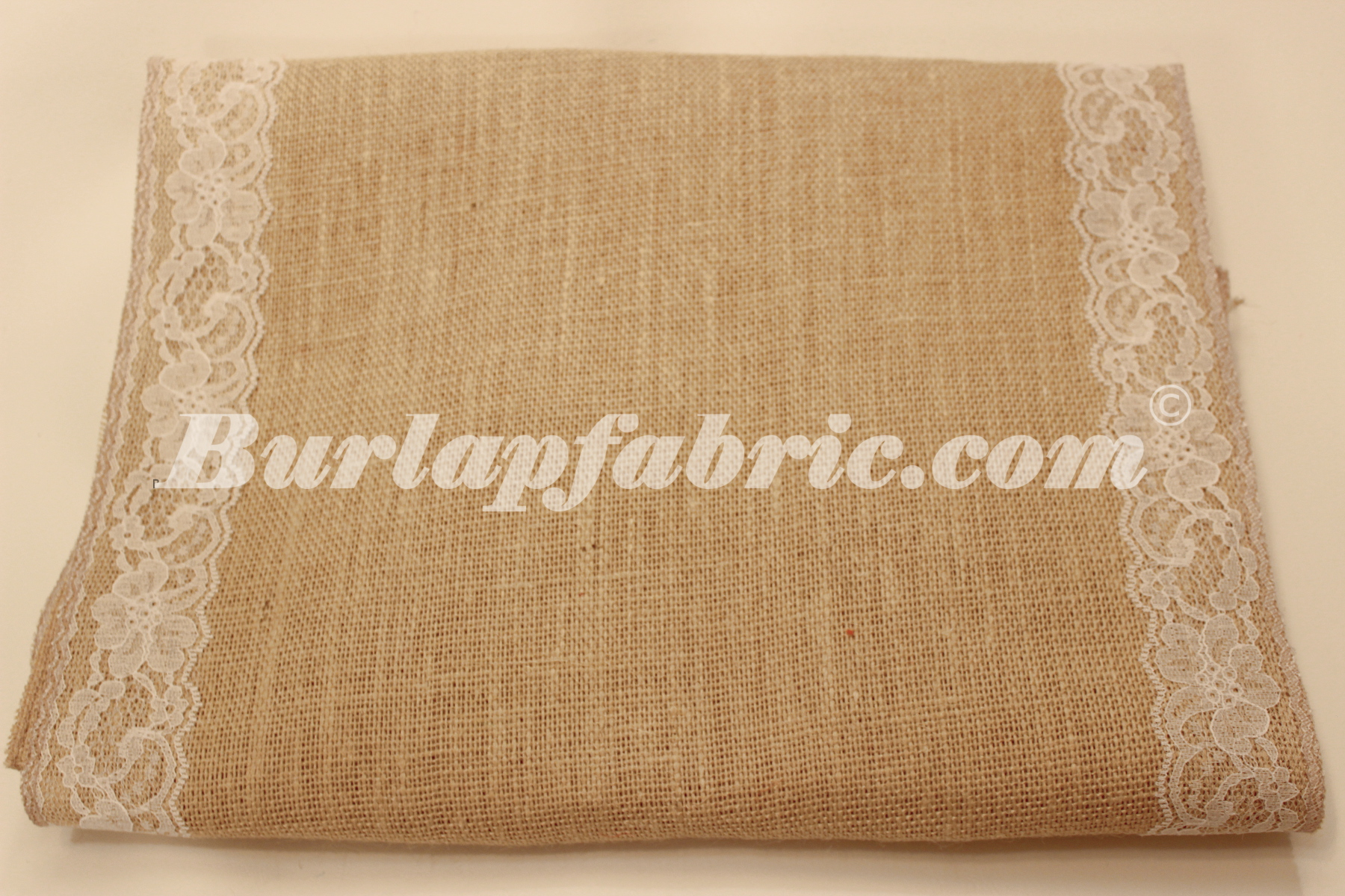 "14"" Florida Sand Burlap Runner with 2"" White Lace Borders"