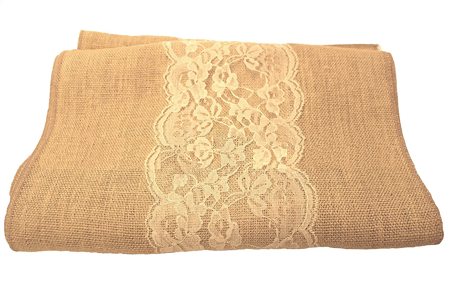 "14"" Florida Sand Burlap Runner with 6"" Ivory Lace"