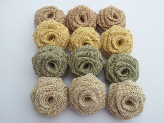 Burlap Flowers - 12 Pack (Special Color Combo)