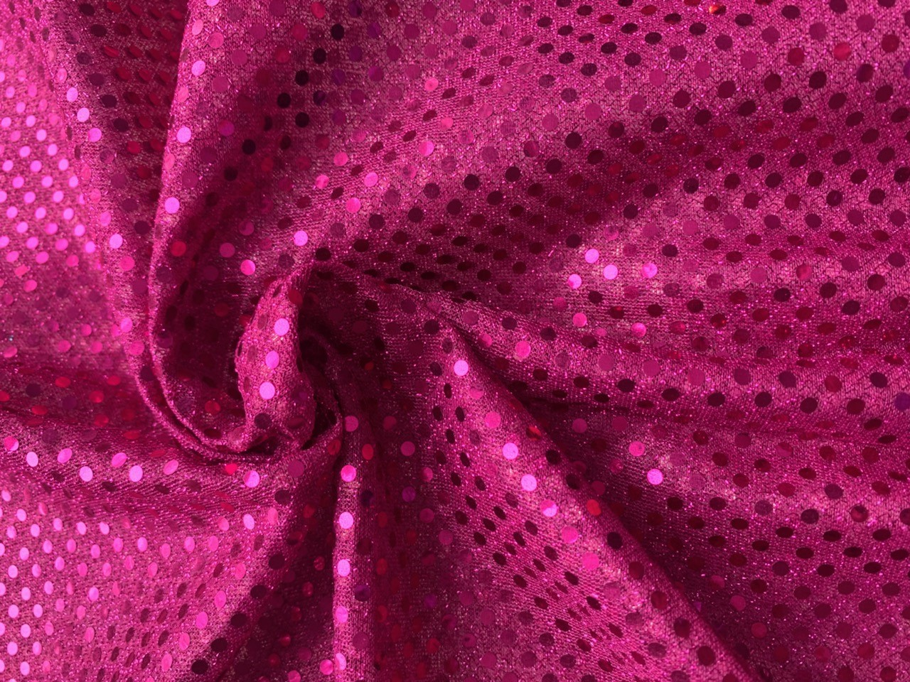 "44/45"" Fuchsia Dot Sequin Faric By The Yard"