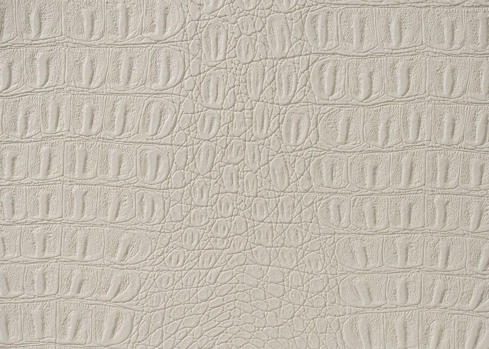 "54"" White Gator Faux Leather Fabric - By The Yard"
