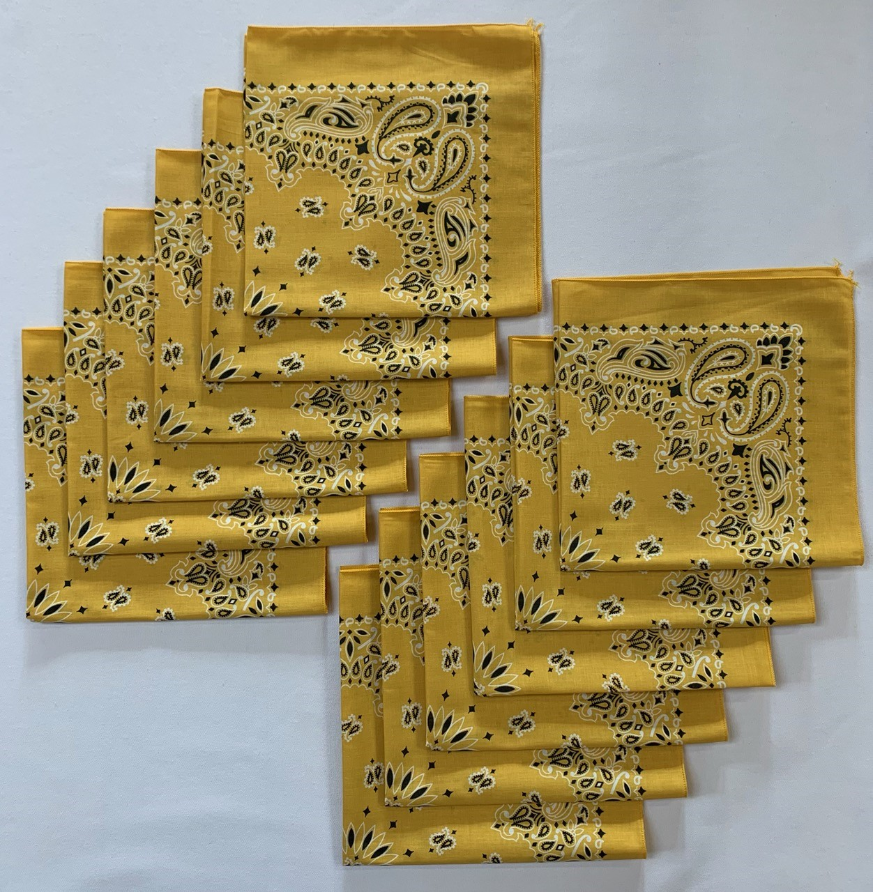 "Made in the USA Gold Paisley Bandanas 12 Pk, 22"" x 22"" Cotton"