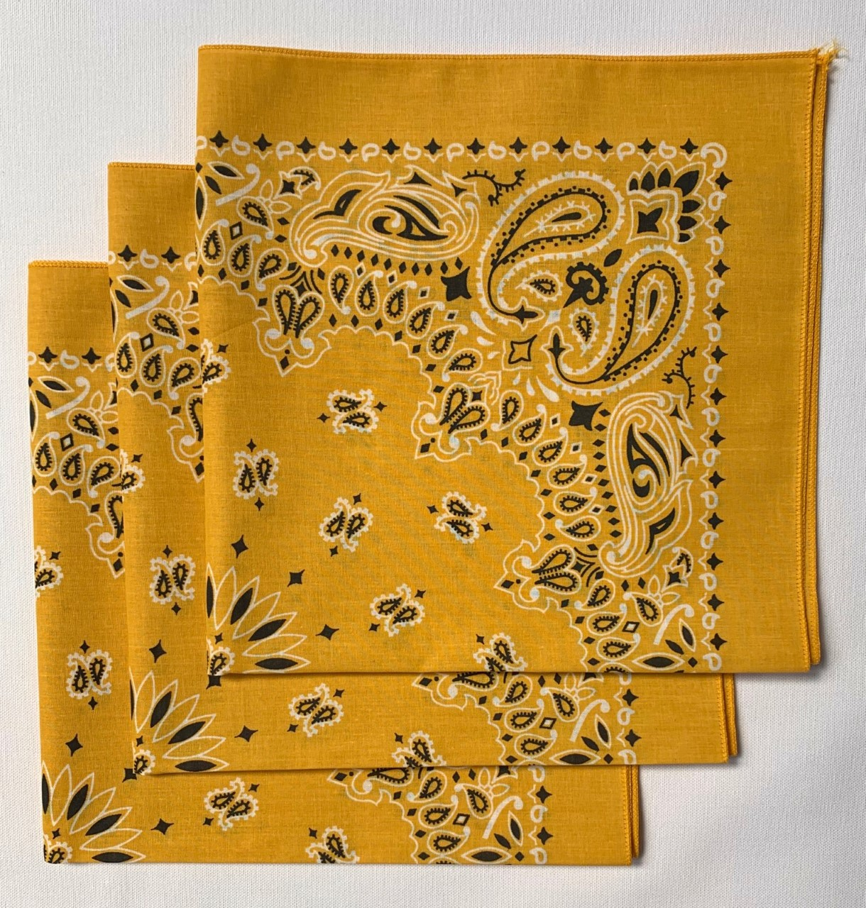 "Gold Paisley Bandanas - Made In The USA (3 Pk) 22"" x 22"""